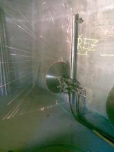 Vyřezávání technologického otvoru v plášti pilíře pro vytahování demontovaných bloků